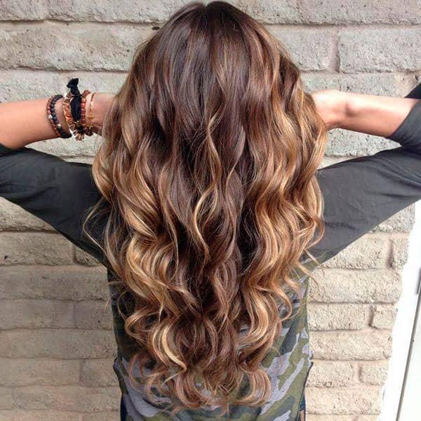 Окрашивание балаяж на длинных темных волосах