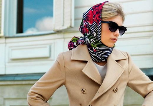 виды женских шапок яркий платок
