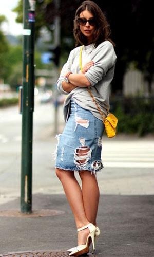 С чем носить джинсовую юбку - советы стилистов, самые модные модели на фото
