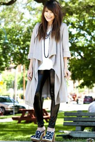с чем носить кардиган брюки в сочетании с длинным широким кардиганом