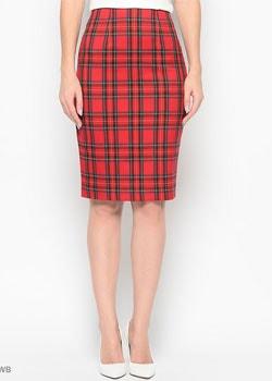 красная узкая юбка
