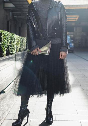 с чем носить юбку-пачку кожаная черная куртка